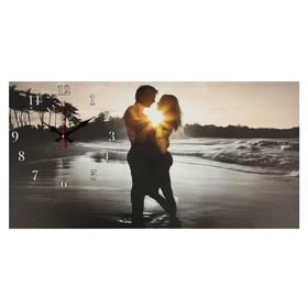 Часы настенные, серия: Люди, на холсте 'Влюбленная пара', 40х76  см, микс Ош