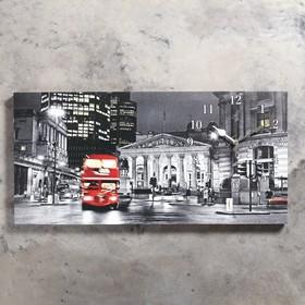 Часы настенные, серия: Город, на холсте 'Лондон', 40х76  см, микс Ош
