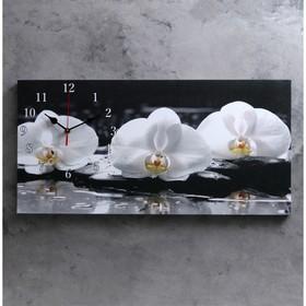 Часы настенные, серия: Цветы, на холсте 'Белые орхидеи', 40х76  см, микс Ош