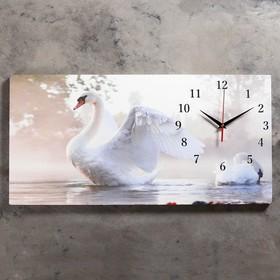 Часы настенные, серия: Животный мир, на холсте 'Белый лебедь', 40х76  см, микс Ош