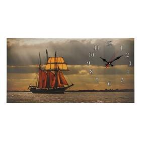 Часы настенные, серия: Море, на холсте 'Парусник', 40х76  см, микс Ош