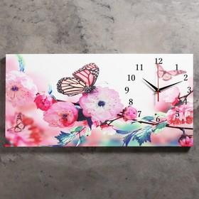 Часы настенные, серия: Цветы, на холсте 'Бабочки в цветах', 40х76  см, микс Ош