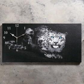 Часы настенные, серия: Животный мир, на холсте 'Леопард', 40х76  см, микс Ош