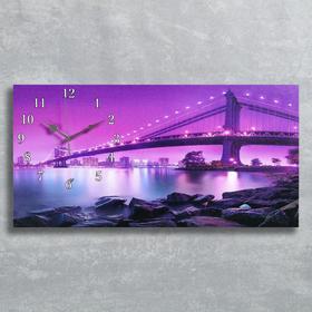 Часы настенные, серия: Город, на холсте 'Светящийся мост', 40х76  см, микс Ош