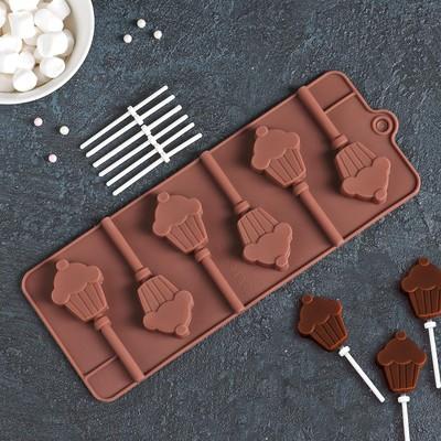 Форма для леденцов Доляна «Кексик», 25×9,5×1,5 см, 6 ячеек, цвет шоколадный - Фото 1