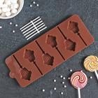 Форма для леденцов Доляна «Кексик», 25×9,5×1,5 см, 6 ячеек, цвет шоколадный - Фото 2