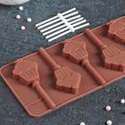Форма для леденцов Доляна «Кексик», 25×9,5×1,5 см, 6 ячеек, цвет шоколадный - Фото 3