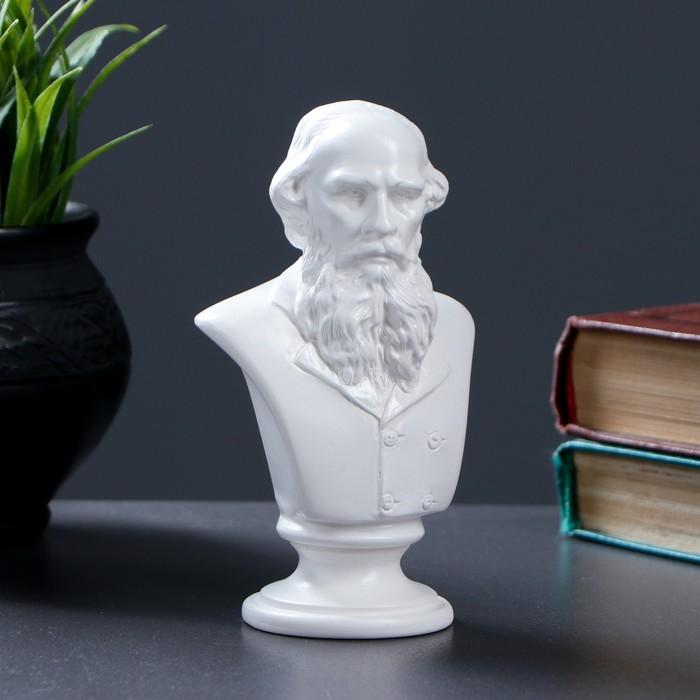 Бюст Толстой / белый, 6× 8× 14см