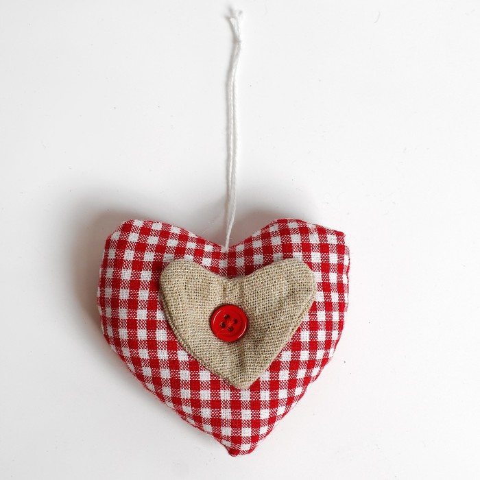 Подвеска Сердце, с пуговкой, цвета МИКС