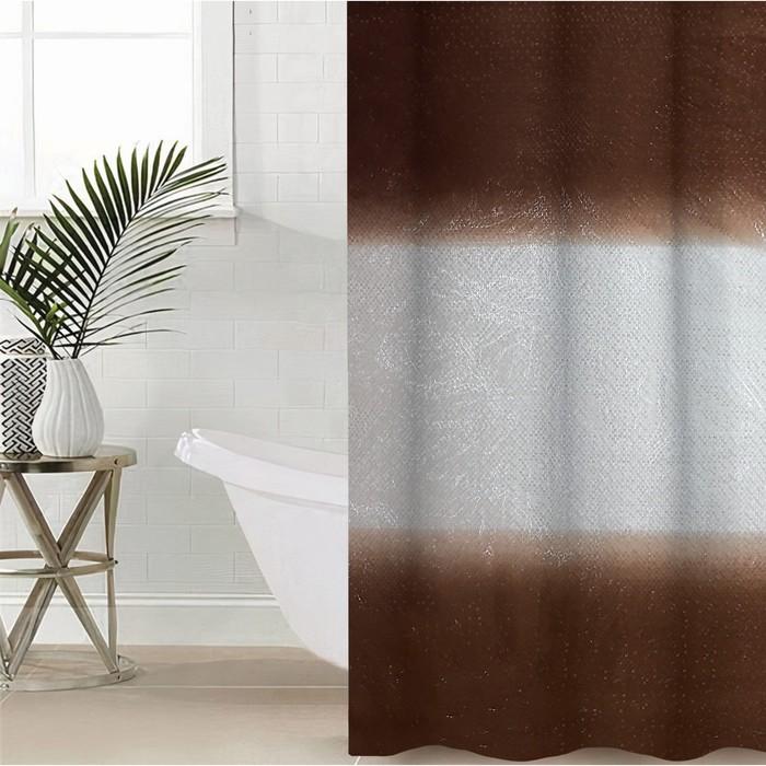 Штора для ванной 180×180 см «Диско 3D», EVA, цвет коричневый