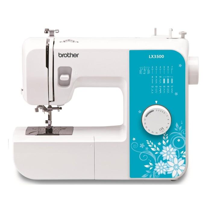Швейная машина Brother LX-3500, 51 Вт, 17 операций, полуавтомат, бело-голубая
