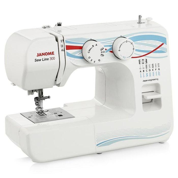 Швейная машина Janome Sew Line 300, 40 Вт, 15 операций, полуавтомат, бело-голубая