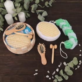 Набор банный, 4 предмета: 2 мочалки, массажёр, расчёска, цвет МИКС Ош