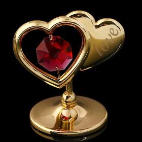 Сувенир «Два сердца», 4,5×4,5×3 см, с кристаллами Сваровски Ош