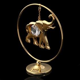 Сувенир «Слон в кольце», 3×7×8 см, с кристаллом Сваровски Ош
