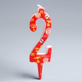 Свеча в торт цифра Дисней 2 'С Днем рождения', Тачки Ош