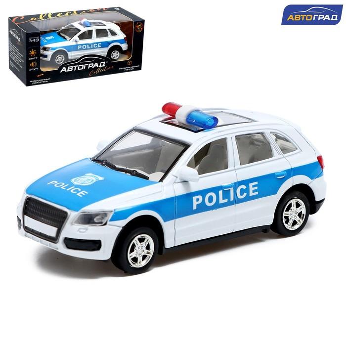 """Машина металлическая """"Полицейский джип"""", инерционная, свет и звук, масштаб 1:43"""