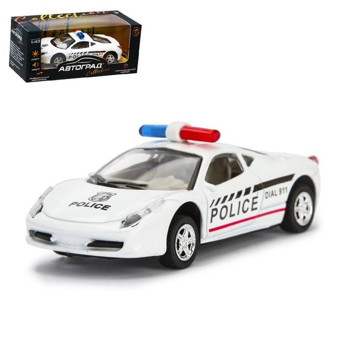 """Машина металлическая """"Полиция"""", инерционная, свет и звук, масштаб 1:43"""