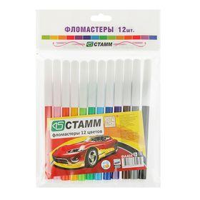 Фломастеры 12 цветов «Автомобили», толщина линии письма 1.0 мм, смываемые чернила, европодвес