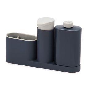 Органайзер для раковины Sink Base Plus с дозатором для мыла и бутылочкой, цвет серый