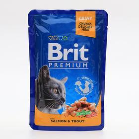Влажный корм Brit Premium для кошек, лосось и форель, пауч, 100 г