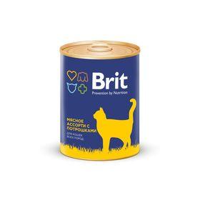 Влажный корм Brit Premium для кошек, мясное ассорти с потрошками, 340 г