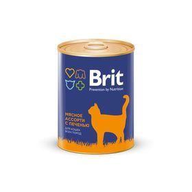 Влажный корм Brit Premium для кошек, мясное ассорти с печенью, 340 г