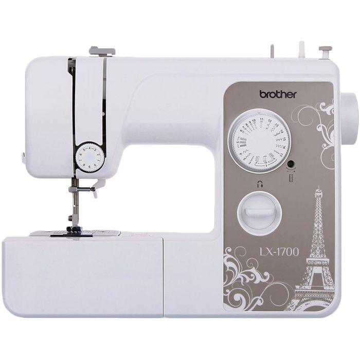Швейная машина Brother LX-1700S, 50 Вт, 17 операций, полуавтомат, бело-бежевая