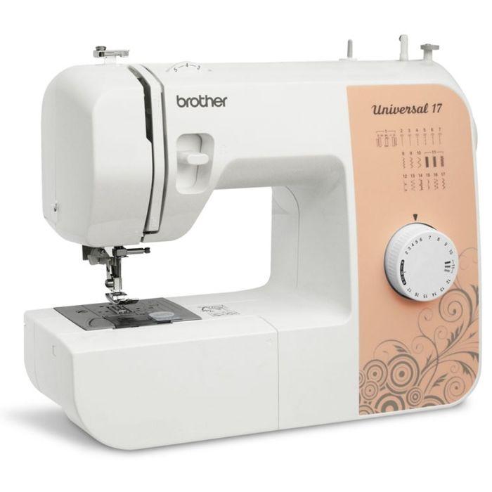 Швейная машина Brother Universal 17, 51 Вт, 17 операций, полуавтомат, бело-персиковая