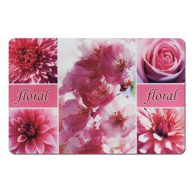 Подставка под горячее, размер 43,5х28,5 см, пластик, цвет розовые цветы