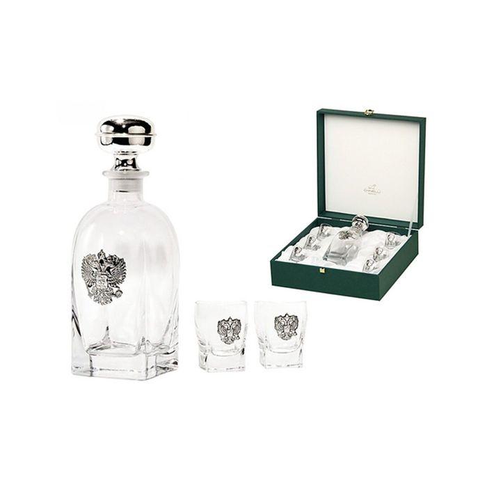 Набор для водки: штоф и 6 стопок «Россия», цвет серебро