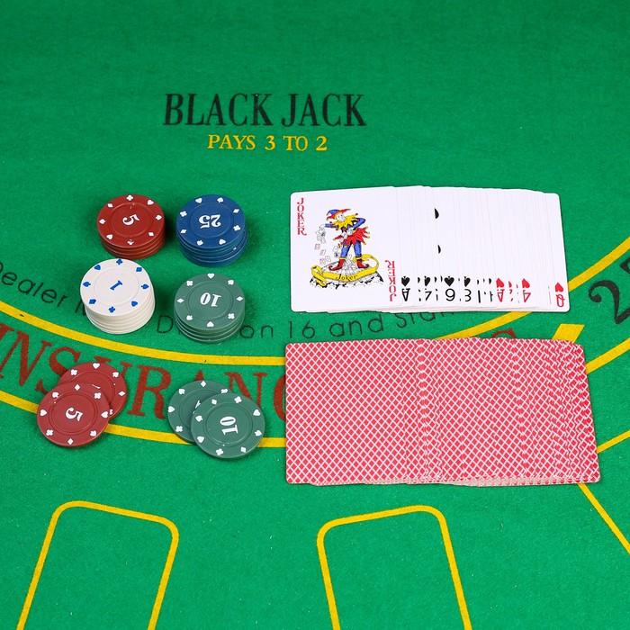 Покер, набор для игры карты 54 шт, фишки 24 шт с номенал. микс