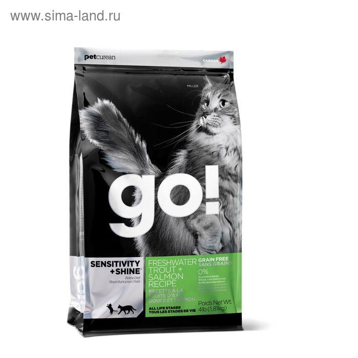 Сухой корм GO! для котят и кошек с чувствительным пищеварением, с форелью и лососем, 1,82 кг