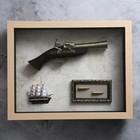 Изделие в раме, структура дерево, корабль, пистолет, пули, 39*49см