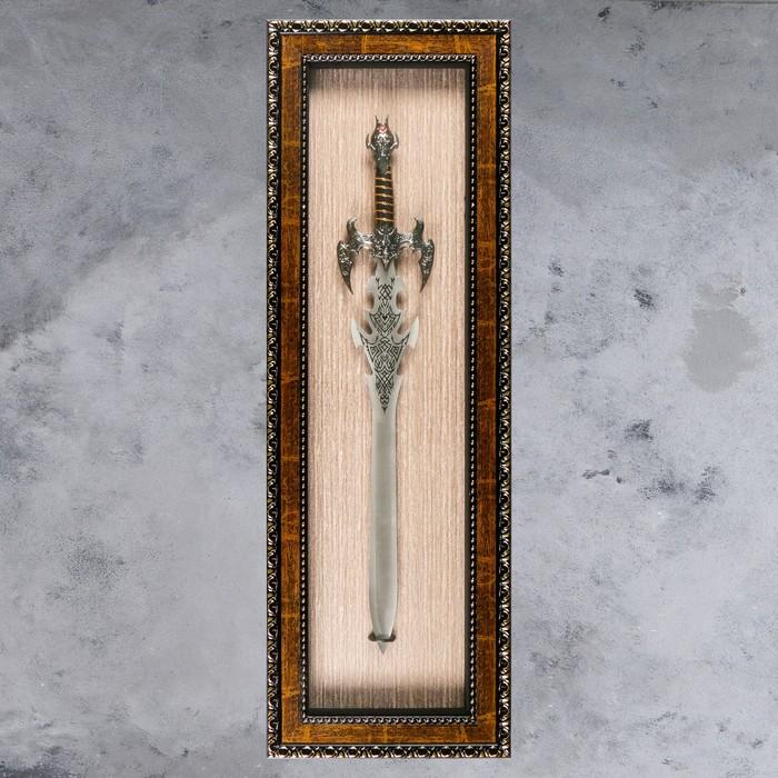 Изделие в раме, багет косичка, меч, 41х123 см
