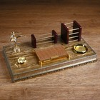 Набор настольный 5в1 (визитница,карандашница,скреп.,лоток для бумаги,часы) каратист 23*43см