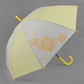 Зонт - трость полуавтоматический «Цветы», 8 спиц, R = 55 см, цвет жёлтый