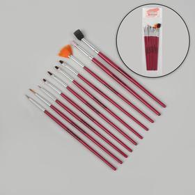 Кисти для наращивания и дизайна ногтей, 10 шт, 18,5 см, цвет розовый