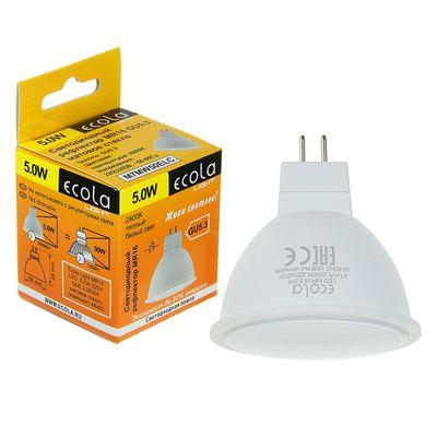 Лампа светодиодная Ecola Light, MR16, 5 Вт, GU5.3, 2800 K, 48x50 мм, матовое стекло