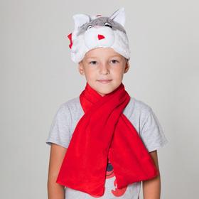 Карнавальная шапка 'Кот в колпаке с шарфом', р-р 52-57 см Ош