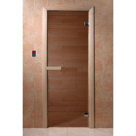 Дверь для бани и сауны стеклянная 'Бронза', 190×70см, 6мм Ош