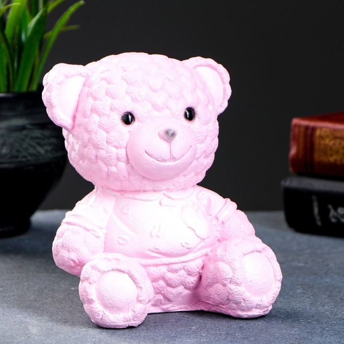 Копилка Мишка плюшевый 11х12х15см розовый