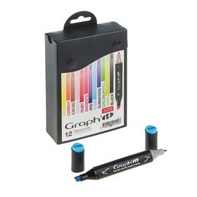 Набор художественных маркеров GRAPH'IT Classic, 12 цветов, двусторонний: пулевидный/скошенный, основные цвета