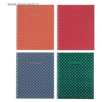 Тетрадь 48 листов в клетку, на гребне «Горошки», обложка мелованный картон, ВД-лак, МИКС - Фото 1