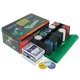 Покер, набор для игры (карты 2 колоды, фишки 200 шт б/номин, сукно 60х90 см) микс Ош