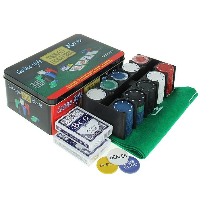 Покер, набор для игры карты 2 колоды, фишки без номин. 200 шт, сукно 60х90 см микс