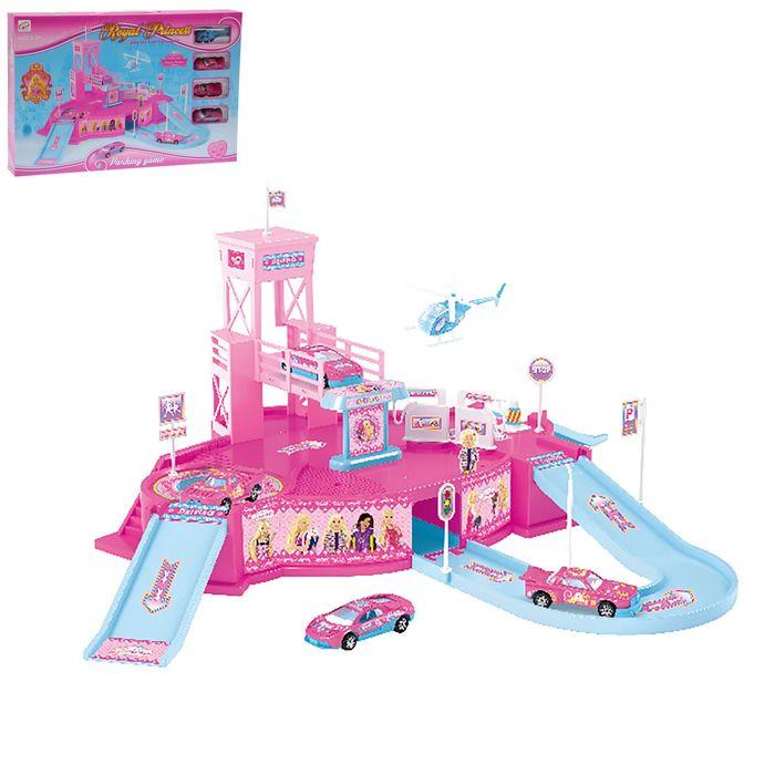 Парковка «Королевство принцессы», 3 металлические машины + вертолет