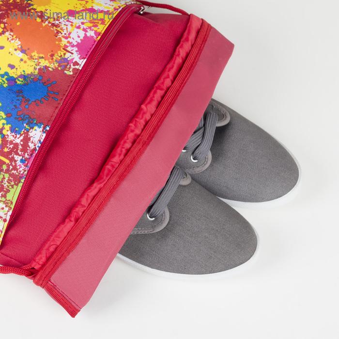 Сумка для обуви, отдел на шнурке, наружный карман на молнии, цвет красный
