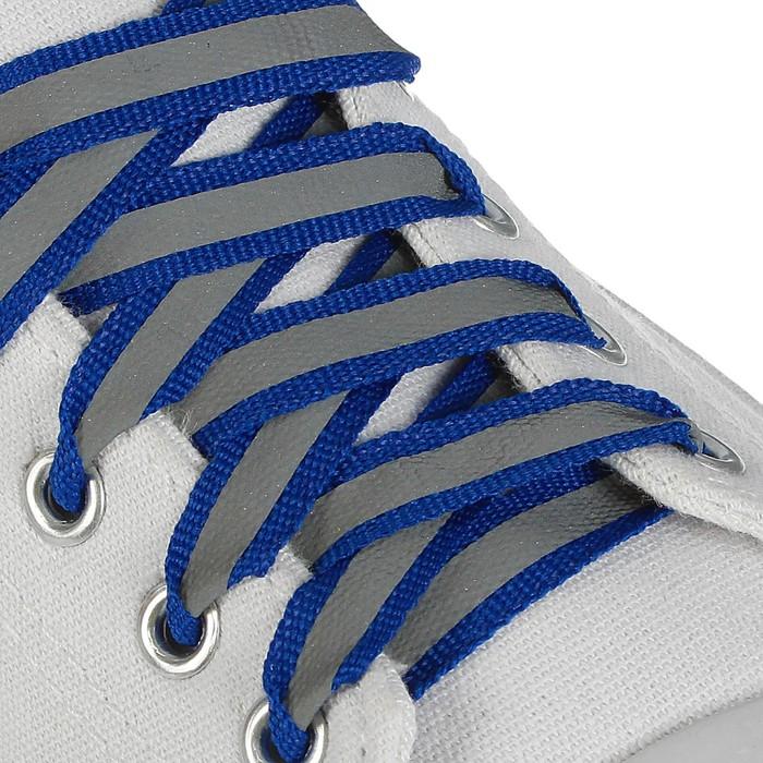 Шнурки для обуви, пара, плоские, со светоотражающей полосой, 10 мм, 100 см, цвет синий
