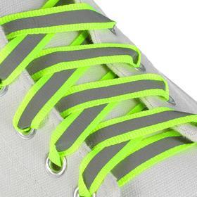 Шнурки для обуви, пара, плоские, со светоотражающей полосой, 10 мм, 100 см, цвет зелёный неоновый
